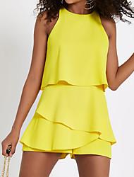 Недорогие -Жен. Повседневные Черный Красный Желтый Широкие Комбинезоны, Однотонный M L XL Без рукавов
