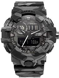 Недорогие -SMAEL Муж. Спортивные часы электронные часы Японский Японский кварц Стеганная ПУ кожа Черный / Хаки 50 m Защита от влаги Календарь Секундомер Аналого-цифровые Мода - Черный Хаки / Хронометр
