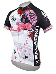 baratos -ILPALADINO Mulheres Manga Curta Camisa para Ciclismo - Branco Floral / Botânico Tamanhos Grandes Moto Camisa / Roupas Para Esporte Blusas, Respirável Secagem Rápida Resistente Raios Ultravioleta