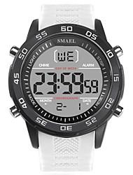 Недорогие -SMAEL Муж. Спортивные часы Японский Цифровой силиконовый Черный / Белый 50 m Защита от влаги Календарь Фосфоресцирующий Цифровой Мода - Черный Черный / Белый