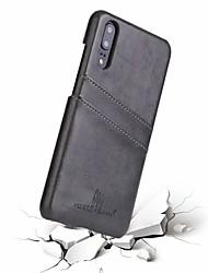 Недорогие -Кейс для Назначение Huawei Huawei P20 Бумажник для карт Кейс на заднюю панель Однотонный Твердый Настоящая кожа