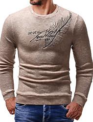 Недорогие -Муж. Повседневные Уличный стиль Буквы Длинный рукав Тонкие Обычный Пуловер, Круглый вырез Черный / Темно-серый / Бежевый L / XL / XXL