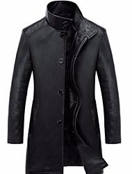 Недорогие -Муж. Кожаные куртки Классический - Однотонный
