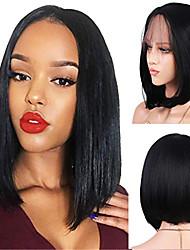 economico -capelli naturali Remy Lace integrale Lace frontale Parrucca Brasiliano Liscio Nero Parrucca Taglio asimmetrico 130% 150% 180% Densità dei capelli con i capelli del bambino Disegni alla moda Da donna