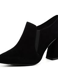 Недорогие -Жен. Ботильоны Полиуретан Осень На каждый день Ботинки На толстом каблуке Ботинки Черный / Коричневый