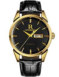 Недорогие -ontheedge Муж. Нарядные часы Наручные часы Японский Японский кварц 30 m Защита от влаги Календарь Cool Кожа Группа Аналоговый На каждый день Мода Черный - Черный и золотой Черный / Серебристый