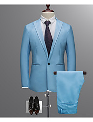 cheap -men's work suits-solid colored shirt collar