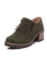 abordables -Femme Chaussures de confort Daim Printemps & Automne Décontracté Mocassins et Chaussons+D6148 Talon Bottier Bout rond Noeud / Gland Noir / Vert / Amande