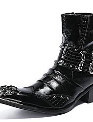 billiga -Herr Fashion Boots Nappaskinn Vinter Brittisk Stövlar Håller värmen Stövletter Svart / Vin / Fest / afton