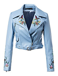 Недорогие -Жен. Кожаные куртки Цветочные / ботанический Жаккард