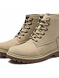 Недорогие -Муж. Армейские ботинки Полиуретан Осень На каждый день Ботинки Нескользкий Сапоги до середины икры Черный / Бежевый