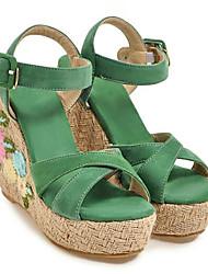 cheap -Women's Comfort Shoes Suede / Elastic Fabric Summer Sandals Wedge Heel Green / Light Blue