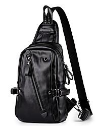 Недорогие -Муж. Мешки PU Слинг сумки на ремне Молнии Сплошной цвет Черный
