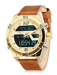 Недорогие -NAVIFORCE Муж. Спортивные часы Наручные часы Японский Японский кварц Натуральная кожа Синий / Коричневый 30 m Защита от влаги Календарь С двумя часовыми поясами Аналоговый На каждый день Мода -