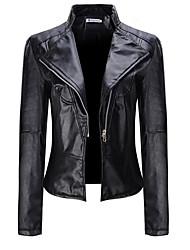 Недорогие -Жен. Повседневные Уличный стиль Обычная Кожаные куртки, Однотонный Лацкан с тупым углом Длинный рукав Полиуретановая Черный XL / XXL / XXXL