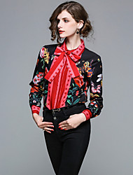 Недорогие -Жен. С принтом Рубашка Активный / Уличный стиль Цветочный принт
