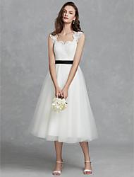 baratos -Linha A Decote Quadrado Longuette Renda / Tule Vestidos de casamento feitos à medida com Renda / Fitas e Laços de LAN TING BRIDE® / Pretíssimos