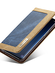 baratos -CaseMe Capinha Para Samsung Galaxy S9 Plus / S9 Carteira / Porta-Cartão / Flip Capa Proteção Completa Sólido Rígida Têxtil para S9 / S9 Plus / S8 Plus
