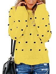 economico -Per donna Quotidiano Essenziale Tinta unita Manica lunga Standard Pullover, Rotonda Autunno / Inverno Cotone Beige / Giallo / Vino M / L / XL