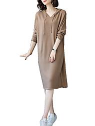 baratos -Mulheres Elegante Tricô Vestido Sólido Acima do Joelho