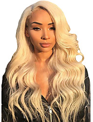billiga -Syntetiska peruker / Syntetiska snörning framifrån Dam Vågigt Blond Middle Part Syntetiskt hår 24 tum Mjuk / Justerbar / Bästa kvalitet Blond Peruk Lång Spetsfront Blekt Blont Modernfairy Hair / Ja