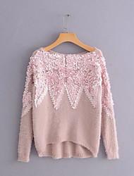 Недорогие -Жен. Повседневные Однотонный Длинный рукав Обычный Пуловер Белый / Розовый / Серый Один размер