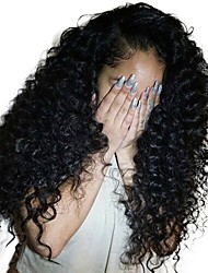 Недорогие -человеческие волосы Remy Полностью ленточные Лента спереди Парик Ассиметричная стрижка Rihanna стиль Бразильские волосы Кудрявый Афро Квинки Черный Парик 130% 150% 180% Плотность волос