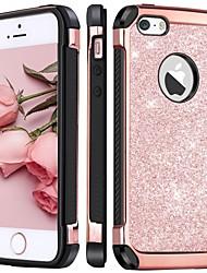 abordables -BENTOBEN Coque Pour Apple Coque iPhone 5 Antichoc / Plaqué / Brillant Coque Brillant Dur faux cuir / PC pour iPhone SE / 5s / iPhone 5c