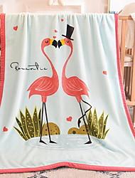 Недорогие -фламенко фланель, реактивная печать геометрические хлопчатобумажные / полиэфирные одеяла