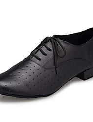 billiga -Herr Moderna skor Läder Sneaker Tvinning Tjock häl Dansskor Svart