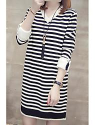 お買い得  -女性のセーター/シフトドレスmidi vネックアウト