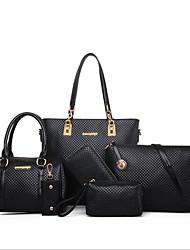 baratos -Mulheres Bolsas PU Conjuntos de saco 6 Pcs Purse Set Ziper Dourado / Preto / Bege