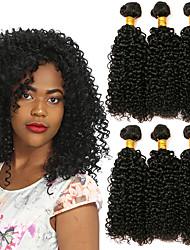 Недорогие -3 Связки Индийские волосы Кудрявый 8A Натуральные волосы Головные уборы Удлинитель Пучок волос 8-28 дюймовый Черный Естественный цвет Ткет человеческих волос Машинное плетение