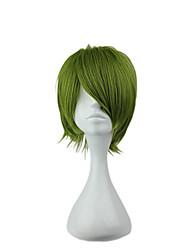 voordelige -Synthetische pruiken Recht Groen Asymmetrisch kapsel fluorescerend groen Synthetisch haar 20 inch(es) Heren Jeugd Groen Pruik Kort Zonder kap