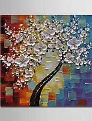 abordables -Peinture à l'huile Hang-peint Peint à la main - A fleurs / Botanique Moderne Toile