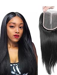 Недорогие -Перуанские волосы 4x4 Закрытие / Бесплатно Part Прямой Средняя часть Швейцарское кружево Натуральные волосы Жен. Классический / Натуральный / обожаемый