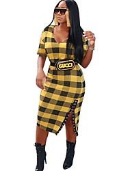 お買い得  -女性用 ベーシック Aライン ドレス カラーブロック ミディ