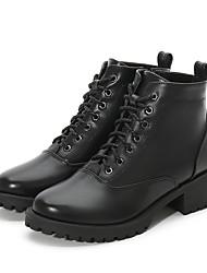 Недорогие -Жен. Армейские ботинки Полиуретан Зима Английский Ботинки На толстом каблуке Круглый носок Ботинки Черный