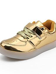abordables -Garçon / Fille Chaussures Polyuréthane Printemps & Automne / Printemps Confort Basket Marche Lacet / Scotch Magique pour Enfants / Adolescent Noir / Argent / Rose