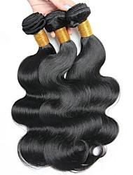 billige -3 Bundler malaysisk hår Bølget / Krop Bølge Ubehandlet / Menneskehår Gaver / Cosplay Kostumer / gaver til tefesten 8-28 inch Naturlig Farve Menneskehår Vævninger Maskinproduceret Blød / Yndig