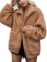 billige -Krave Dame Ensfarvet Plusstørrelser - Pelsfrakke Imiteret pels