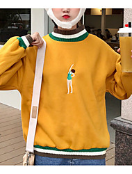 olcso -női hosszú ujjú pulóver - karakter / szín blokk a legénység nyaka