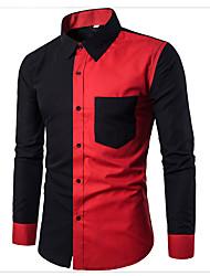 Недорогие -Муж. Рубашка Хлопок Активный / Классический Контрастных цветов Черный / Длинный рукав