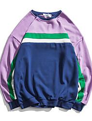 billige -mænds langærmet bomuld sweatshirt - farveblok rundt halsen