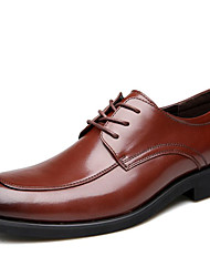 Недорогие -Муж. Кожаные ботинки Кожа Осень Деловые / Английский Туфли на шнуровке Сохраняет тепло Черный / Коричневый