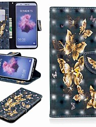 זול -מגן עבור Huawei P20 lite / Huawei P Smart Plus ארנק / מחזיק כרטיסים / עם מעמד כיסוי מלא פרפר קשיח עור PU ל Huawei P20 / Huawei P20 Pro / Huawei P20 lite