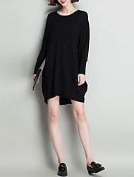 Недорогие -Жен. Повседневные Однотонный Длинный рукав Свободный силуэт Длинный Пуловер Шерсть Черный / Серый L / XL / XXL
