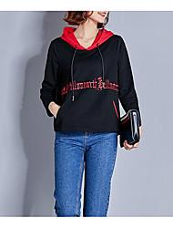 Недорогие -женский длинный рукав из хлопка с капюшоном - сплошной цвет с капюшоном