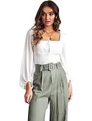 billige -Kvinders strand slank skjorte - solid farvet firkantet hals