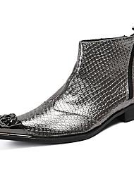 billiga -Herr Fashion Boots Nappaskinn Vinter Ledigt / Brittisk Stövlar Vattenfast Stövletter Silver / Fest / afton
